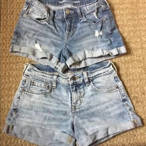 2 Pair Old Navy jean shorts size 0